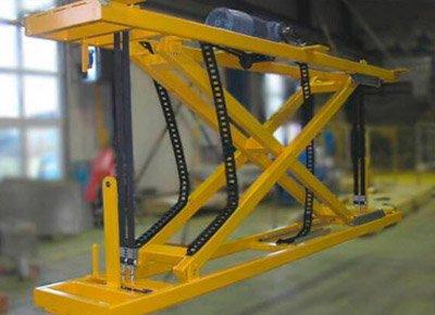 Belt-drive hanging lift table.