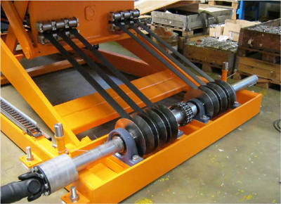 Belt driven lift table. Detail of the winding system.