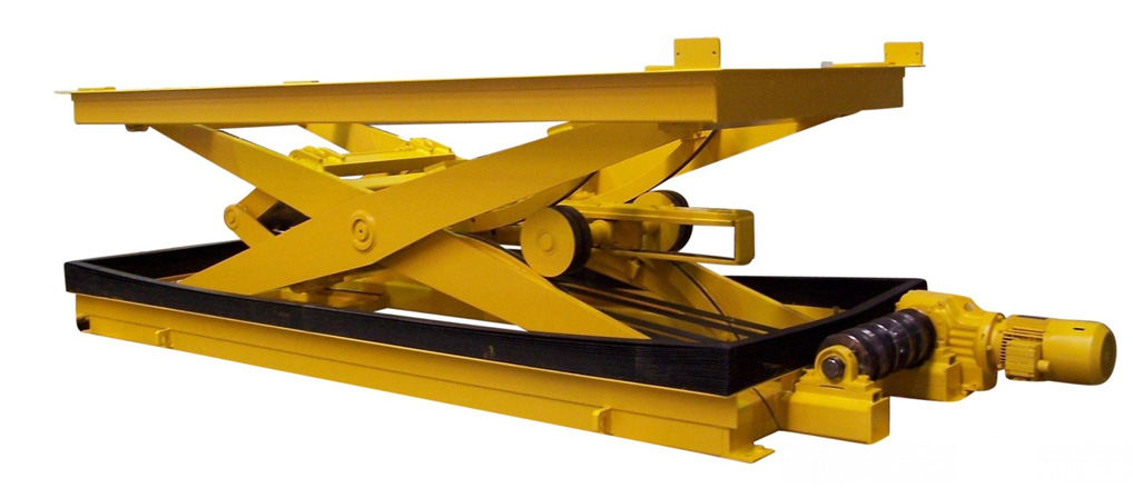 Belt-drive lift table with bellows.