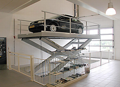 Car lift in the showroom.