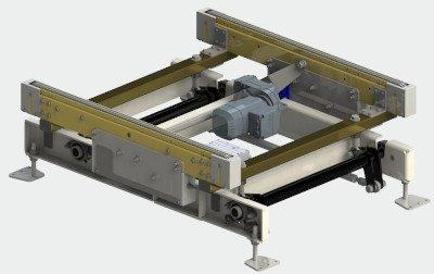 Chain conveyor for half pallets