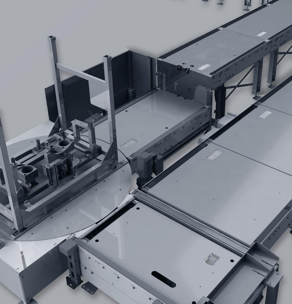 Chain conveyor with turntable.