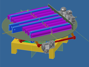 Conveyor turntable with rollers and chains