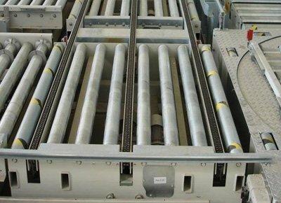 Detail of roller conveyor.