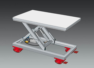 Diagram of frame with wheels.