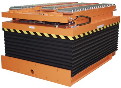 Lift table with divided roller conveyor and skirt.