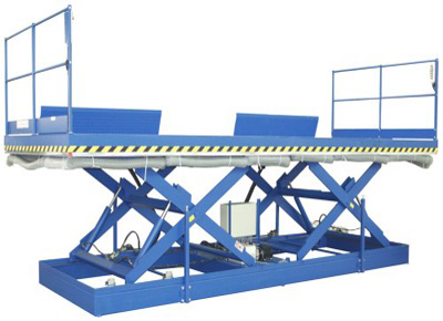Lift table with scissors in tandem and safety rails.