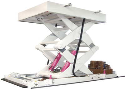 Mobile double scissor hydraulic lift table.