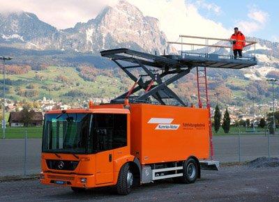 Platform on a vehicle for inspection work.