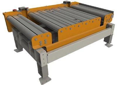 Roller conveyor for half pallets