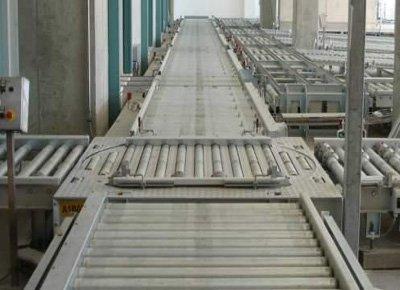 Roller conveyor turntable.