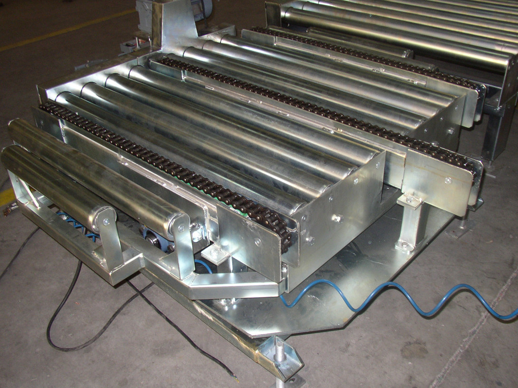 Rollers or chains transfer turntable unit