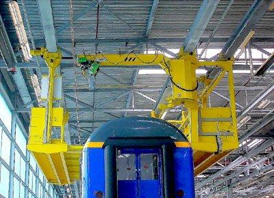 Telescopic platforms, crane and rotating handrail.