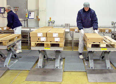 Ultra-flat lift tables in stainless steel for palletising boxes.