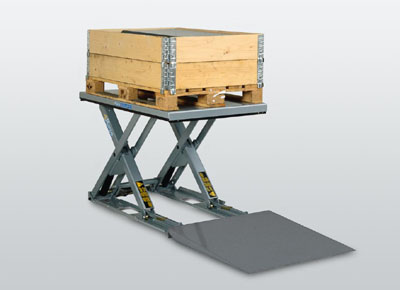 Ultra-flat lift table with platform and ramp.