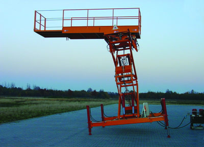 Work platform with tilting and forward movement.